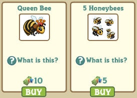 Queen Bee y 5 Honeybees Farmville