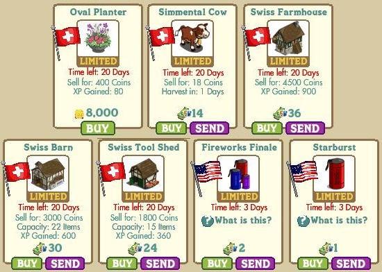 Oval Planter, Simmental Cow, Swiss Farmhouse, Swiss Barn, Swiss Tool Shed, Fireworks Finale y Starburst farmville
