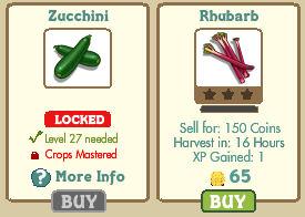 Zucchini y Rhubarb Farmville