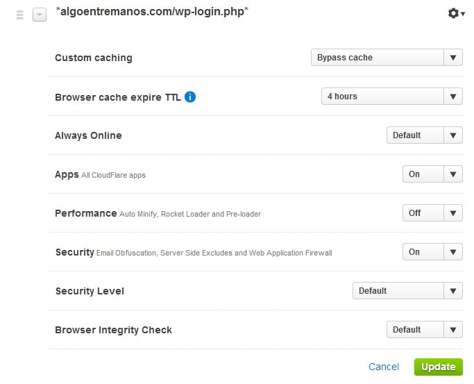 Page Rules CloudFlare 4