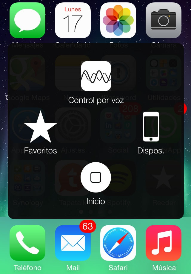botón home virtual en nuestra pantalla iPhone