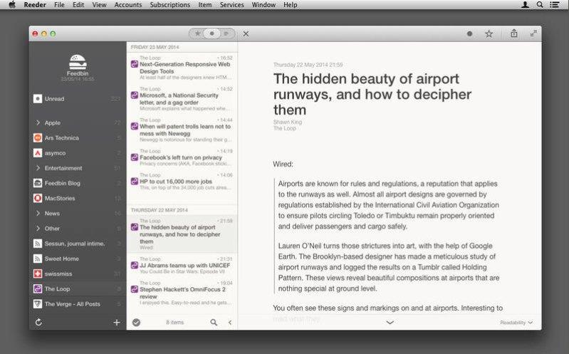El mejor programa para Mac para leer fuentes RSS en 2014: Reeder 2
