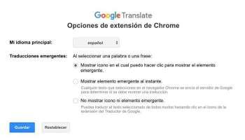 Opciones Traductor Google extension