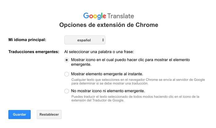 Opciones Traductor Google extension