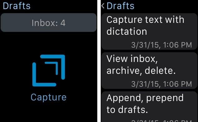 Drafts 4 app Apple Watch
