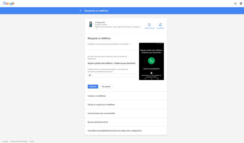 Encuentra tu movil con google