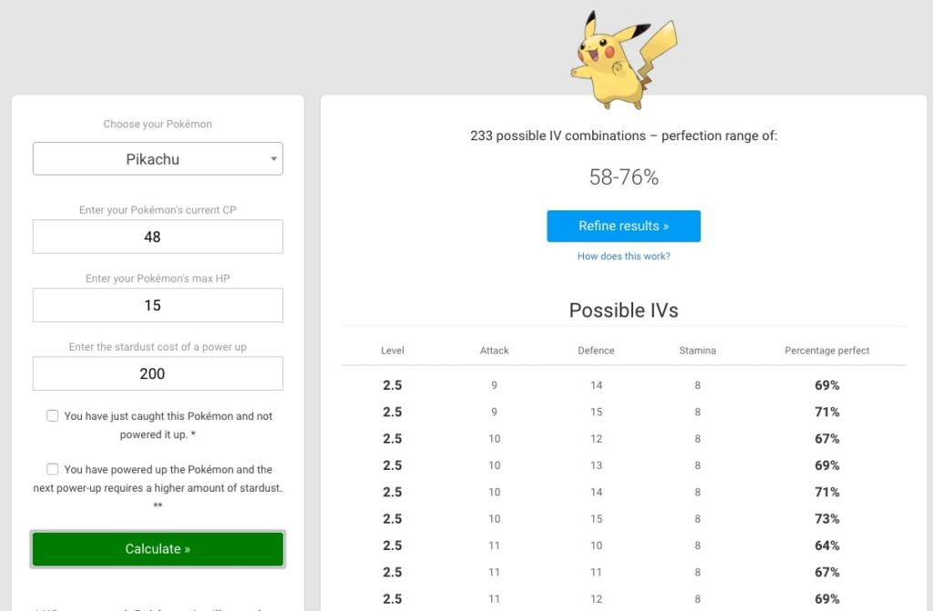 Pokémon IV calculator