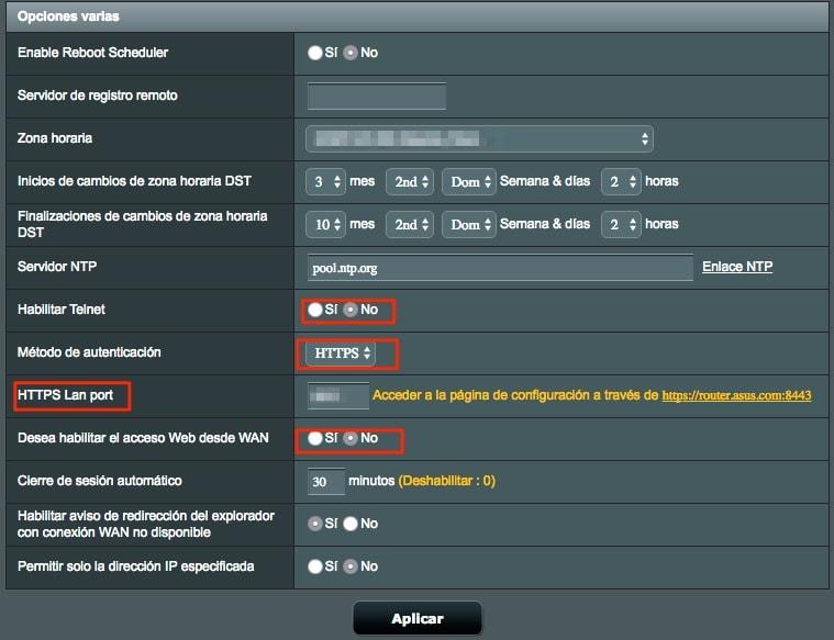 Deshabilita la administración remota, SSH, Telnet y habilita el acceso al roueter mediante https