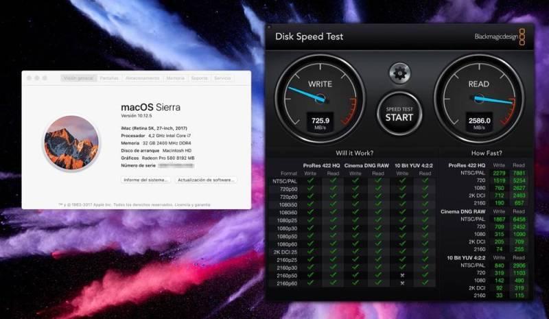 ¿Qué rendimiento de lectura, escritura tiene un disco Fusion Drive de 2TB en un iMac 5K de 27″ de 2017?