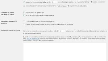 Ajustes comentarios WordPress