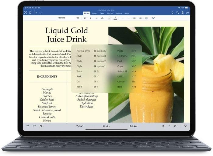 funciones rápidas del teclado en el iPad Pro