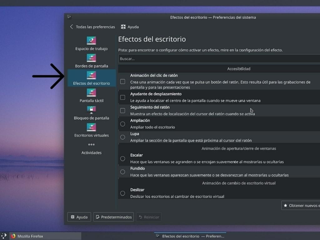 Quitamos los efectos de escritorio de KDE Neon