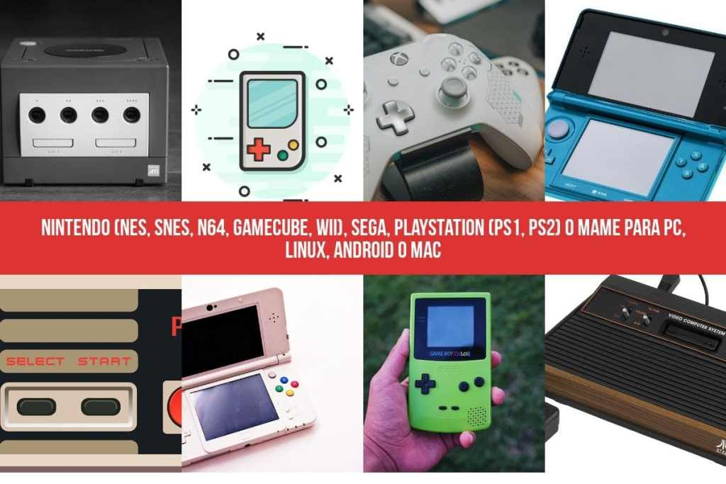 Emuladores: Nintendo (NES, SNES, N64, GameCube, Wii), Sega, PlayStation (PS1, PS2) o MAME para PC, Linux, Android o Mac