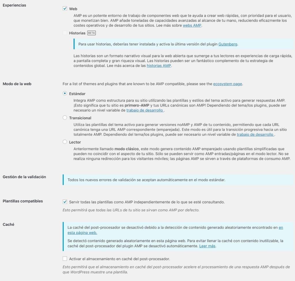 AMP Wordpress plugin