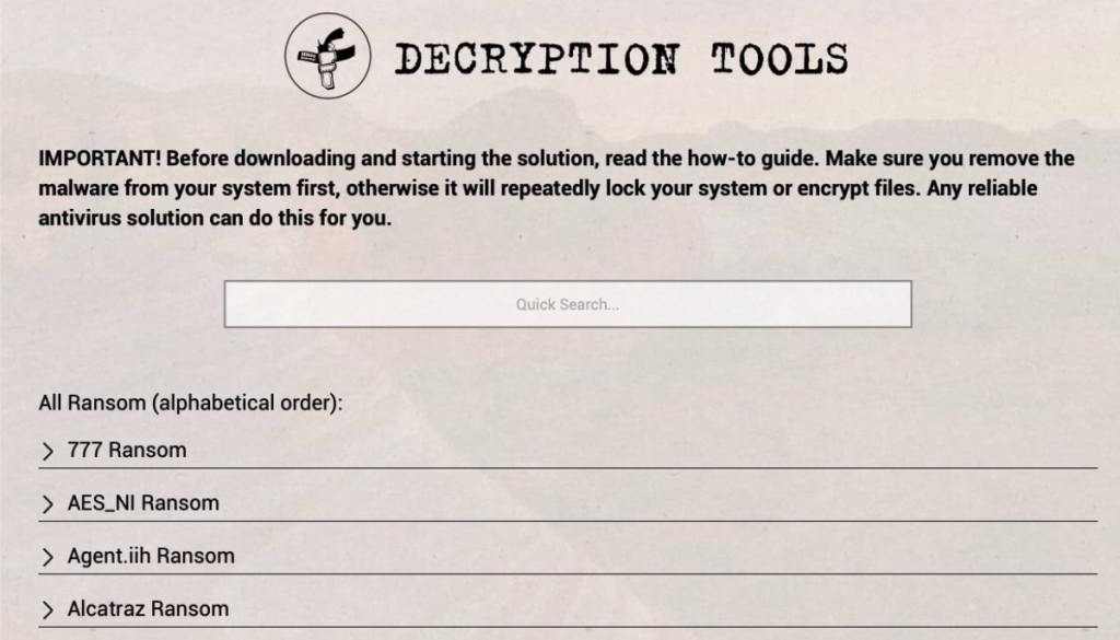Decryption Tools de No More Ransom!