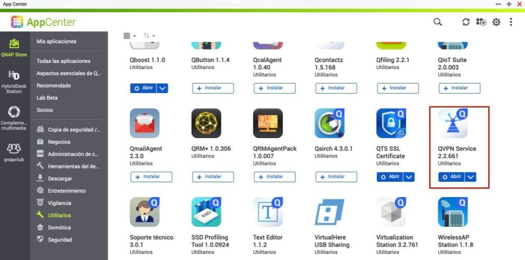 Instalamos la app QVPN Service