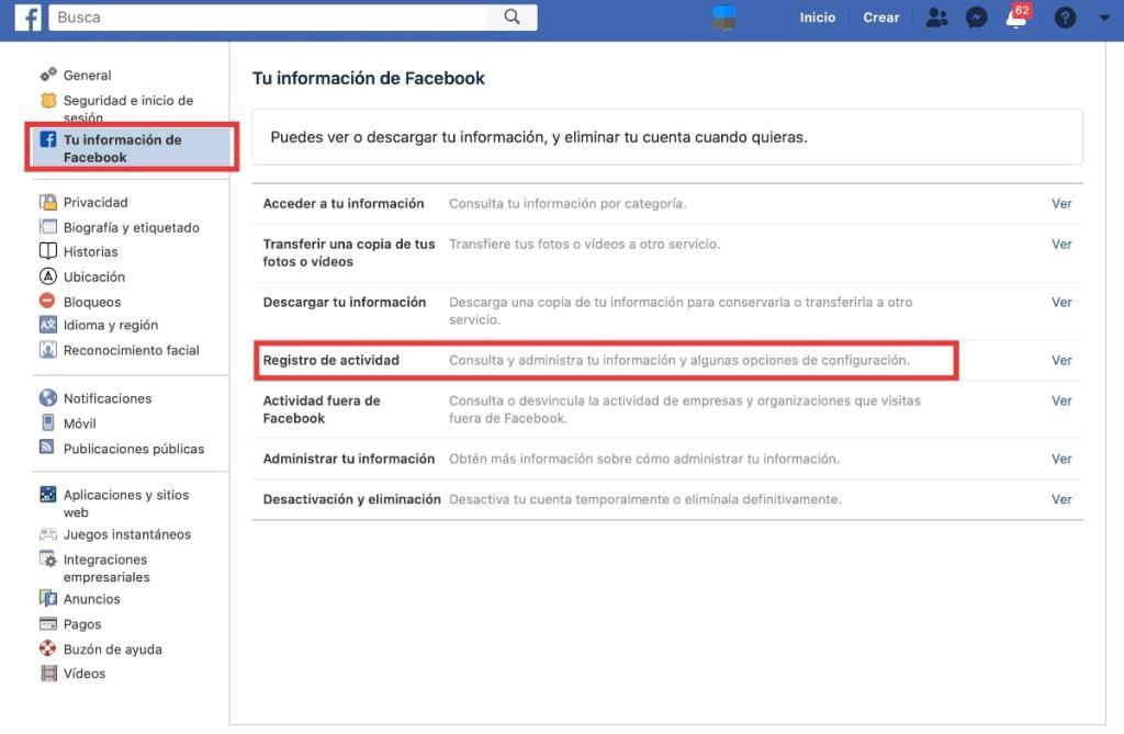 ¿Quieres eliminar solo parte de la información que has subido a Facebook? Registro Actividad