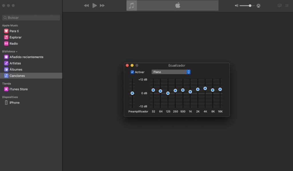 app Música del Mac: ecualizador