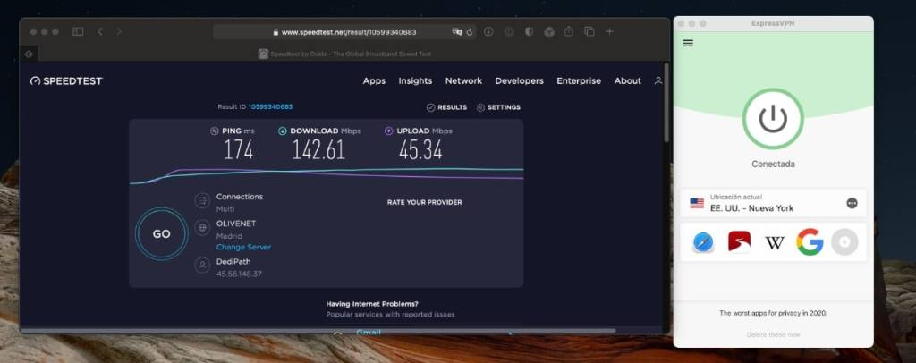 ExpressVPN: velocidad de sus servidores VPN