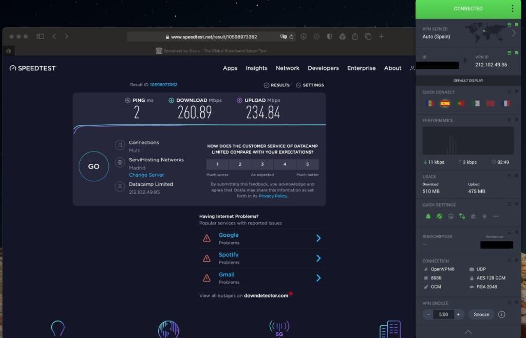 Private Internet Access (PIA VPN): velocidad servidores