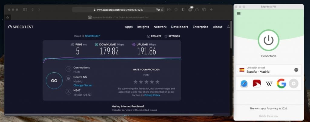 La mejor opción por velocidad de sus servidores: ExpressVPN