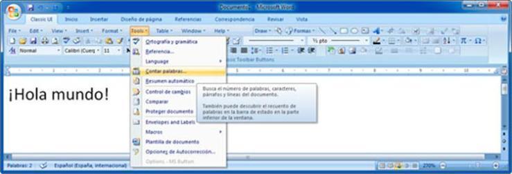 Menú de Word 2003 en Word 2007
