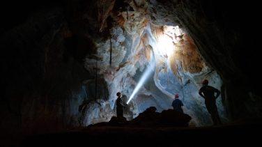 Team exploring a cave