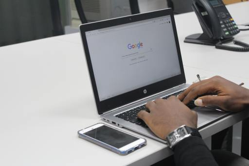 Google displayed on laptop