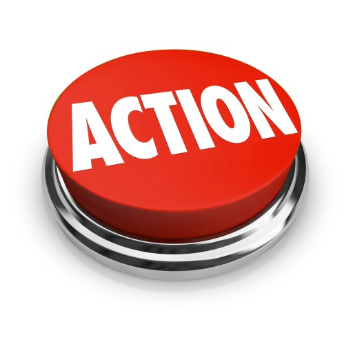 Action Word on Red Round Button