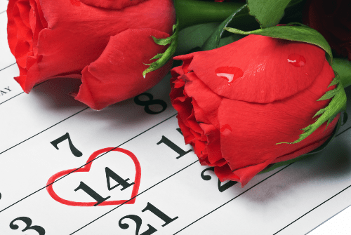 roses laying on calendar with red circle around fourteen for valentine's day