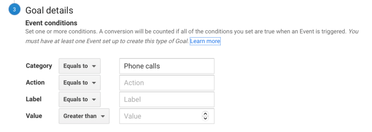 Detailed view of Google analytics goal setup