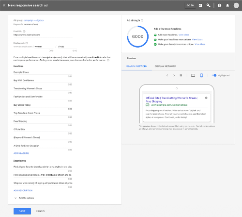responsive search ads interface in Google ads