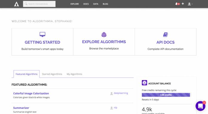 Algorithmia world's biggest algorithm marketplace.