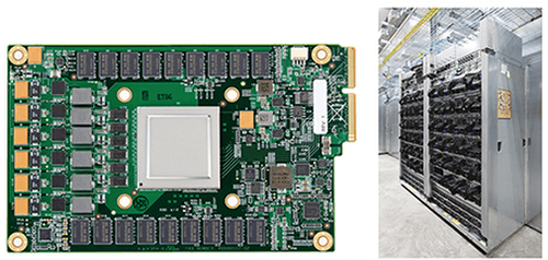 Google's first Tensor Processing Unit (TPU) on a printed circuit board (left); TPUs deployed in a Google datacenter (right)