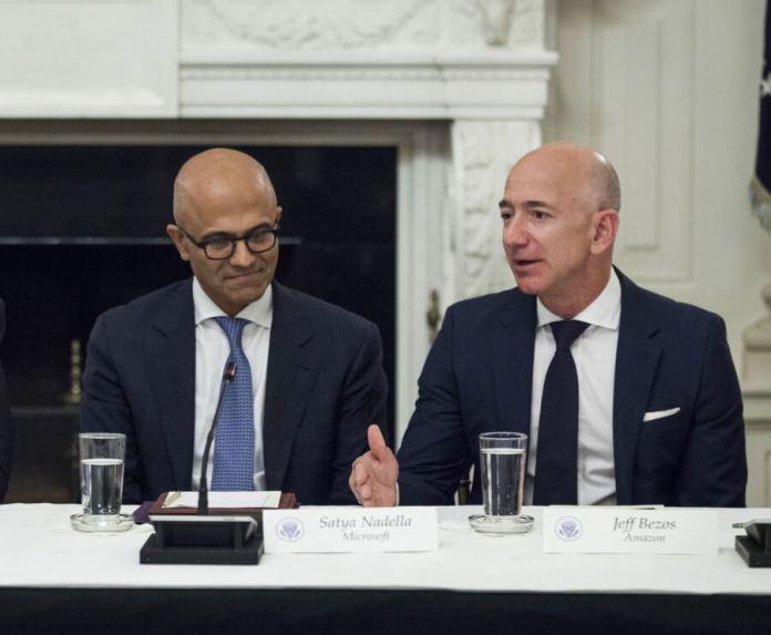 Microsoft CEO Satya Nadalla and Amazon CEO Jeff Bezos
