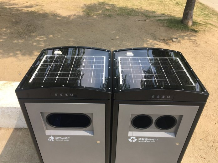 In Seoul, data and the Internet of Things are using solar powered bins which compact rubbish automatically