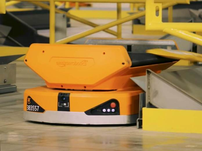Pegasus sorting robot in Amazon warehouse
