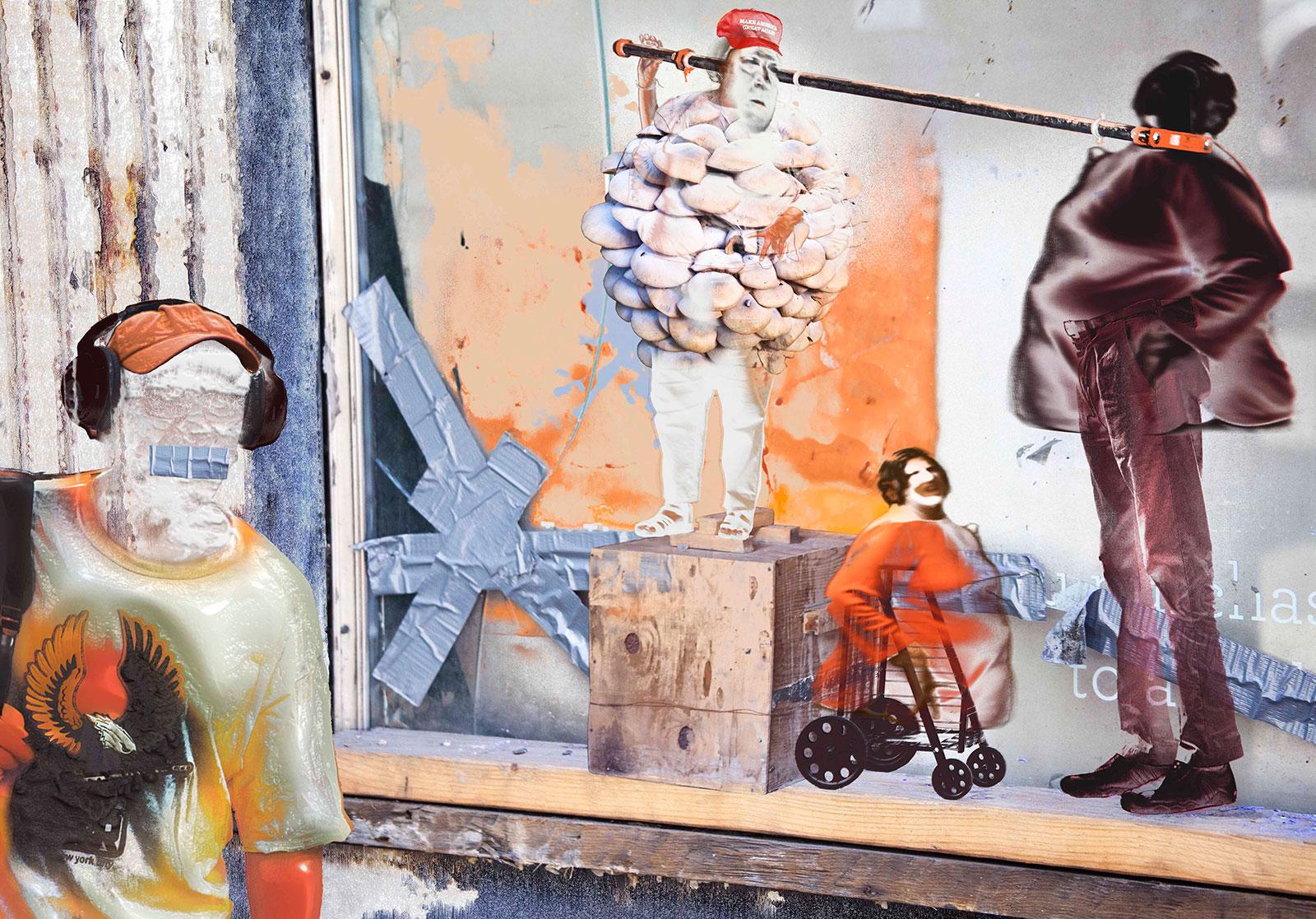 four figures set against broken window