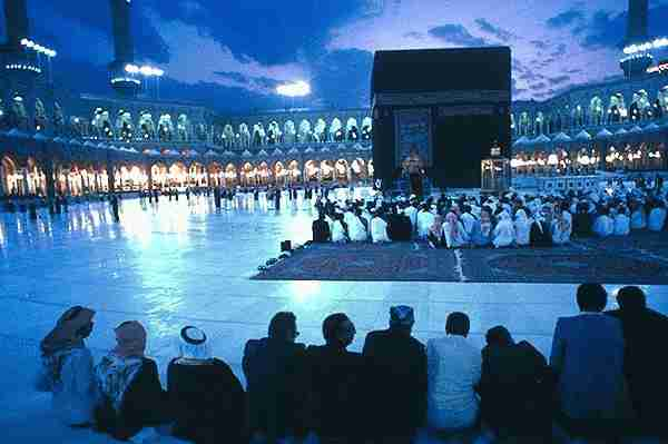 Inside Masjidil Haram at night