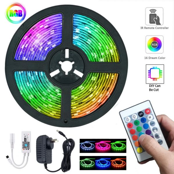 Colorful LED Glow Light Strip with Remote Controller - Multicolor - 5 meters