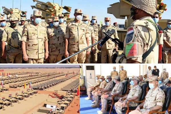 وزير الدفاع يشهد اجراءات التفتيش الحربي على الجيش الثالث