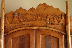Hand carved desk, buffalo