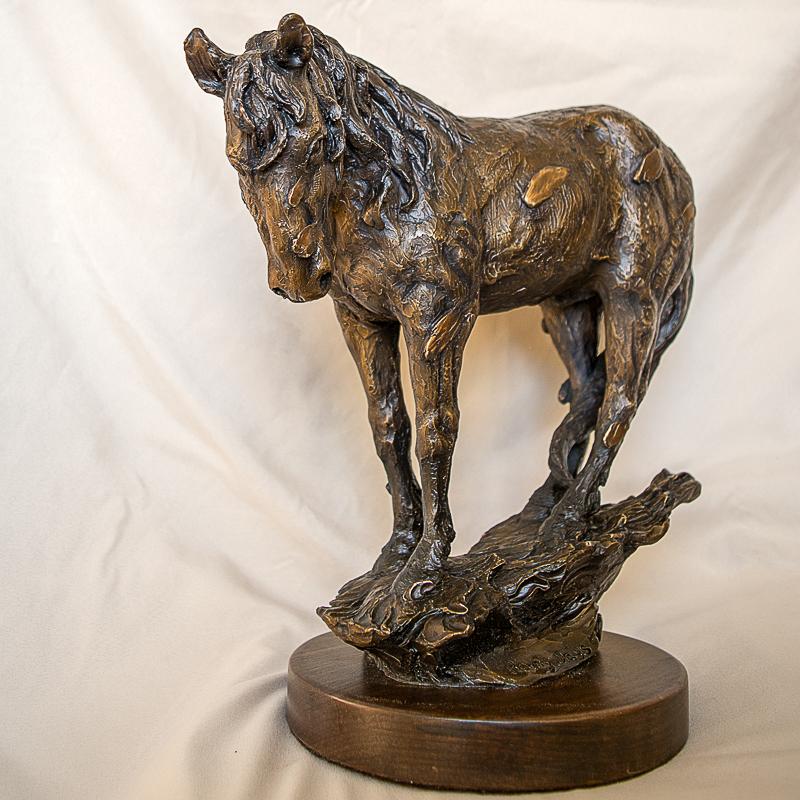 wild horse in the rain sculpture