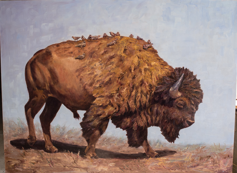 Oil painting of a bison