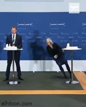 شاهد: لحظة اغماء مسؤولة الصحة في الدنمارك والسبب صادم - صحيفة هتون الدولية