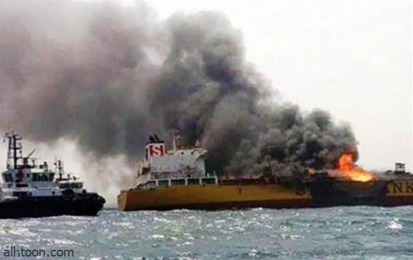 شاهد: احتراق سفينة شحن في البحر - صحيفة هتون الدولية