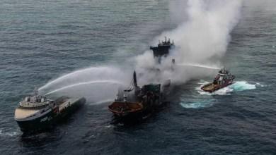 فيديو: إخماد حريق في سفينة حاويات - صحيفة هتون الدولية