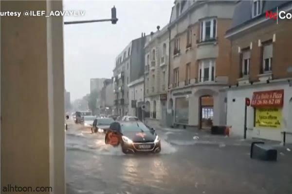 فيديو: غرق الشوارع الفرنسية - صحيفة هتون الدولية