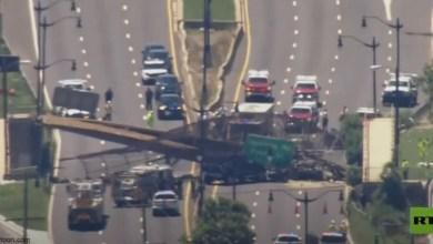 شاهد: انهيار جسر مشاة بأمريكا - صحيفة هتون الدولية