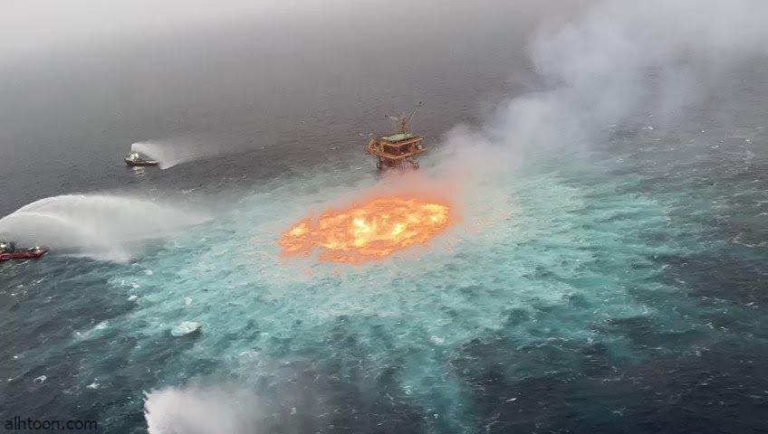 شاهد: حريق على سطح البحر بالمكسيك - صحيفة هتون الدولية